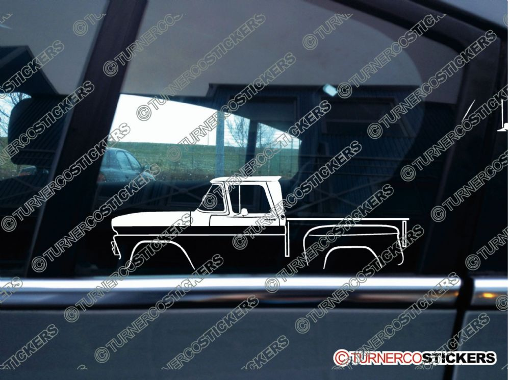 2x Car Silhouette Sticker Chevrolet C10 Stepside 1960